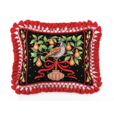 <strong>Peking Handicraft</strong> Partridge in Pear Tree Needlepoint Pillow