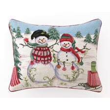 Christmas at the North Pole Snowman Needlepoint Pillow