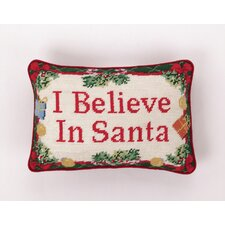 """I Believe in Santa"" Needlepoint Pillow"