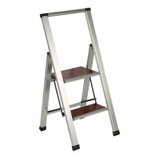 "36.25"" Brushed Aluminum/Wood Lightweight 2 Step Ladder"