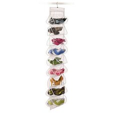 Clear Vinyl Storage 18 Pocket Shoe File with Hanger