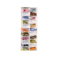 Clear Vinyl Storage 26 Pocket Over the Door Shoe Organizer
