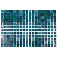"Opalo 12-1/5"" x 18-1/10"" Glass Mosaic in Iridescent Blue"