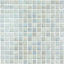 "Geo Glass Square 11-4/5"" x 11-4/5""  Glass Mosaic in White"