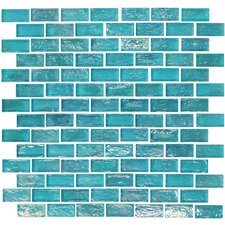 "Geo Brick 1-3/5"" x 4/5"" Glass Frosted Mosaic in Blue"