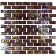 "Geo Glass Brick 1-3/5"" x 4/5"" Glass Mosaic in Brown"