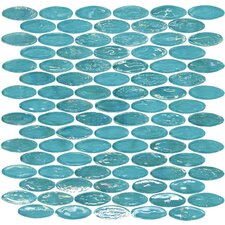 "Geo Glass Oval 11-2/5"" x 11-2/5"" Glass Mosaic in Blue"
