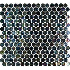 Geo Glass Circle Glass Mosaic in Black