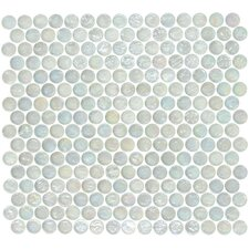 "Geo Glass Circle 12-3/10"" x 11-1/2"" Glass Mosaic in White"