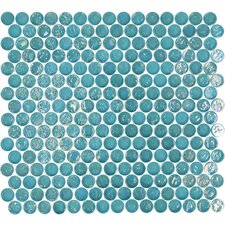 Geo Circle Glass Frosted Mosaic in Blue