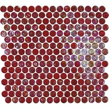 "Geo Glass Circle 12-3/10"" x 11-1/2"" Glass Mosaic in Red"