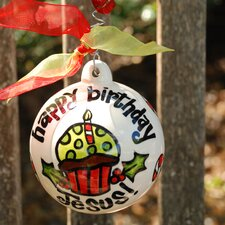 Happy Birthday Jesus Cupcake Ball Ornament