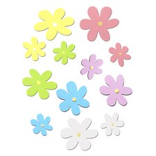 12 Piece Wooden Daisy Cutout Wall Decals Set