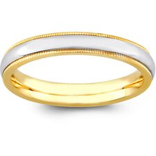 14k Two-tone Gold Women's Milgrain Comfort Fit Wedding Band