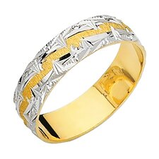 14k Two-tone Gold Men's Mountain Edge Design Easy Fit Wedding Band