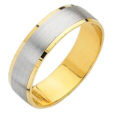 14k Two-tone Gold Men's Easy Fit Wedding Band