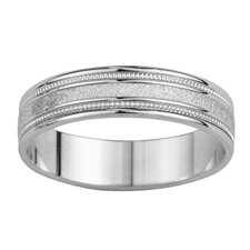 <strong>Precious Stars</strong> 14k White Gold Men's Grooved Easy Fit Wedding Band