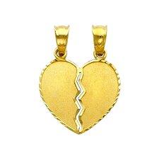 14k Solid Gold Engraveable Double Bail Broken Heart Pendant
