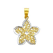 <strong>Precious Stars</strong> 14k Solid Gold Filigree Flower Pendant