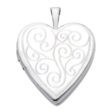 14k Solid White Gold Engraved Fully Open Close Function Heart Locket Pendant
