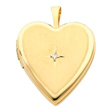 14k Solid Yellow Gold with Diamond Fully Open Close Function Heart Locket Pendant
