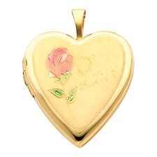 14k Solid Yellow Gold Engraved 'Love' with Rose Fully Open Close Function Heart Locket Pendant