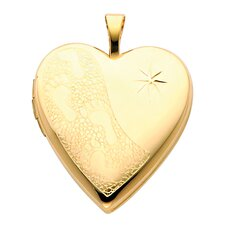 <strong>Precious Stars</strong> 14k Solid Yellow Gold Foot Prints Engraved Fully Open Close Function Heart Locket Pendant