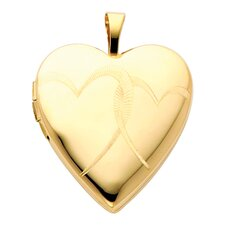 14k Solid Yellow Gold Hearts Engraved Fully Open Close Function Heart Locket Pendant
