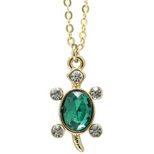 Goldtone and Crystal Animal Turtle Necklace