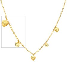 14K Solid Gold Hearts and Stars Link Necklace