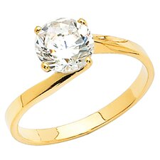 14KT Gold Round Cubic Zirconia Bypass Solitaire Ring
