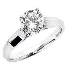 14K Gold Round Cubic Zirconia Knife Edge Solitaire Ring