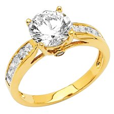 14K Gold Round Cubic Zirconia Channel Engagement Ring