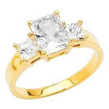 14K Gold Round and Pears Cubic Zirconia Ring