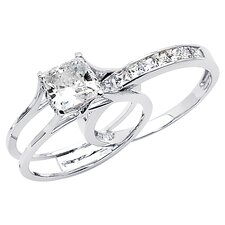 14K Gold Princess Cubic Zirconia Insert Wedding Set