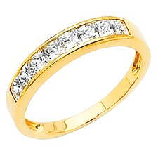 <strong>Precious Stars</strong> 14K Gold Princess Cubic Zirconia Channel Ring