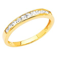 14K Gold Princess Cubic Zirconia Channel Ring
