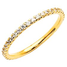 14K Gold Round Cubic Zirconia Skinny Stackable Band Ring