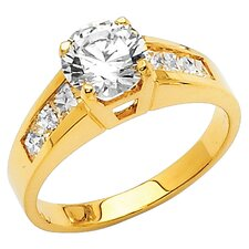 14K Gold Round Cubic Zirconia Engagement Ring
