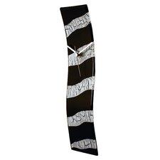 Reversed Zebra Pattern with Cracked Stripe Effect Glass Art Clock