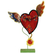 Metal Flying Heart Clock with Pendulum
