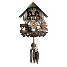 Musical Cuckoo Clock with Man Chops Wood Waterwheel Turns Design
