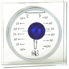 Desktop Thermometer with Blue Float in Silver