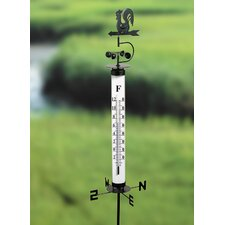 Garden Thermometer with Rooster Wind Vane