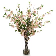 <strong>Distinctive Designs</strong> Silk Cherry Blossoms in Glass Vase