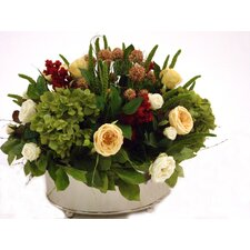 Lush Artificial Floral and Greenery Mix in a Oval Metal Planter