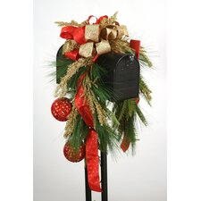 Mailbox Saddle Pine and Fir Boughs Seed Berries Acrylic Ornaments and Ribbon