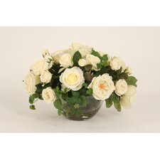 Silk Roses in Bowl