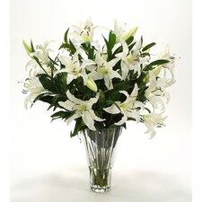 Silk Casa Blanca Lilies in Glass Vase