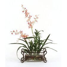 Silk Orchid Plant in Rectangular Vase